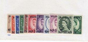 KUWAIT kk88 # 129-139 VF-MLH QE11 WILDING ISSUES CAT VALUE $28