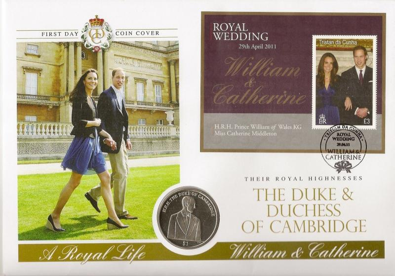 Tristan Da Cunha 2011 The Royal Wedding - $1 Coin Cover