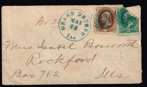US STAMP 19TH 10C JEFFERSON USED GREEN TARGET CANCEL STAMP COVER