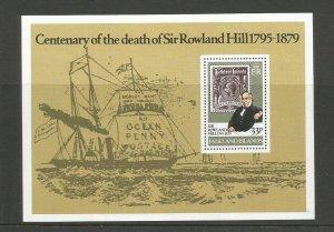 Falkland Islands 1979 Death Centenary Of Rowland Hill Miniature Sheet SG MS 367