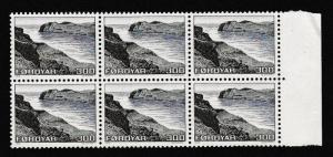 Faroe Is. Landscapes 300 ore Block of 6 with margin SG#16 MI#17 SC#17
