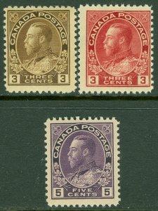 EDW1949SELL : CANADA 1911-25 Scott #108, 109, 112 All PO Fresh & MNH. Cat $200.