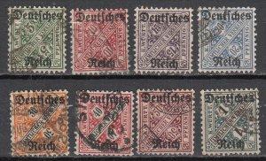 Wurtemberg - 1920 overprinted official stamp set Sc# O176/O183 (7163)
