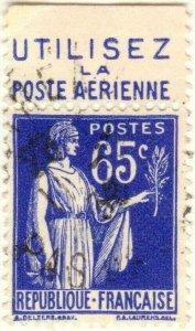FRANCE - 1937 Pub UTILISEZ LA POSTE AERIENNE supérieure /Yv.365b 65c Paix (B1)