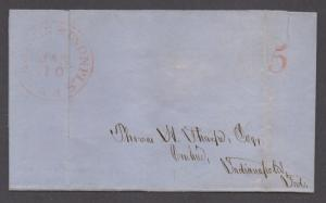 **US Stampless Cover, Madison & Indianapolis RR CDS 1/10/1857, Paid 5