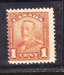Canada-Sc#149-Unused  hinged 1c Orange-KGV Scroll issue-og-1928-Cdn761-