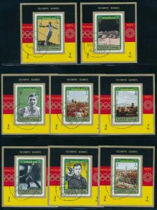 Ajman - Munich Olympic Games 8X Diff Used Sheets (1972)