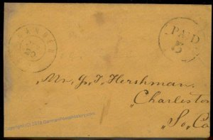 CSA 1862 Camden SC Civil War Confederate Postmaster Provisional Stampless  92696