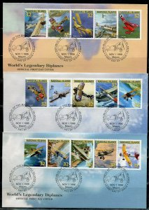 MARSHALL ISLANDS 1996  AIRCRAFT BIPLANES SET ON FIVE FIRST DAY COVERS