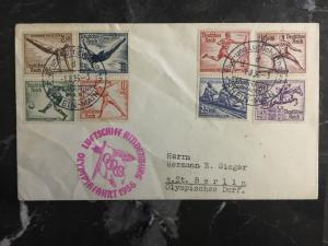 1936 Germany Hindenburg Zeppelin Olympics Cover to USA comp set # B82-B89 LZ 129