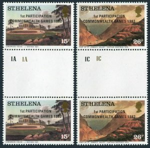 St Helena 376-377 gutter,MNH.Mi 365-366. Participation Commonwealth Games,1982.