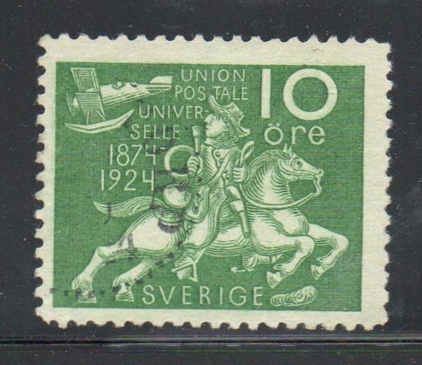 Sweden Sc 214 1924 10 ore UPU Post Rider & Airplane  stamp used