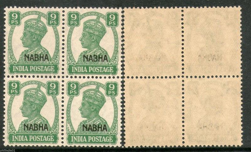 India NABHA KG VI 9ps SG 107 / Sc 102 BLK/4 Cat £12 MNH