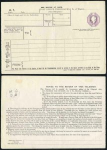 TP18b KEVII 6d Post Office Telegraph Form McCorquodale and Co PERFIN GMandG