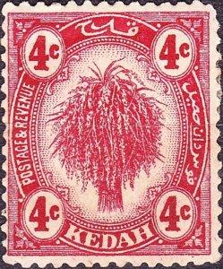 MALAYA KEDAH 1921 4c Deep Carmine SG29 Used