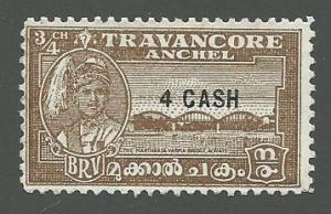India-Travancore  Scott 46  Mint