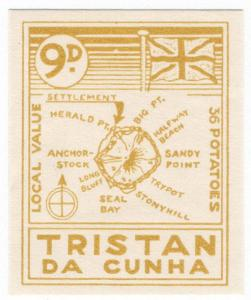 (I.B) Tristan da Cunha Postal : Local Post 9d (Map)