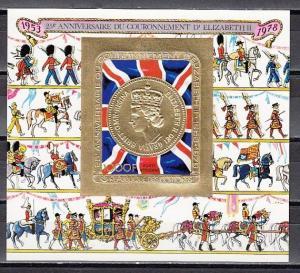 Comoros Is., Mi cat. 415, BL147 B. Queen Elizabeth Coronation, IMPF GOLD s/sht.