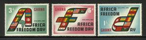 Ghana 1960 Scott# 75-77 MNH