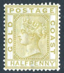 Gold Coast 1876 QV. 1/2d olive yellow. Mint. LH. Crown CC. SG4.