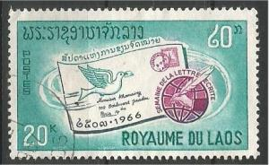 LAOS, 1966, used 20k, Intl. Letter Writing Scott 138