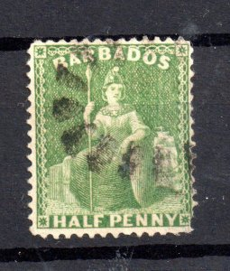 Barbados 1861-70 1/2d blue green SG21 fine used WS15526