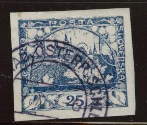 CZECHOSLOVAKIA Scott 5 Used imperforate stamp