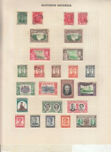 SOUTHERN RHODESIA 2 ALBUM PAGE  VALUES MOSTLY 1937-55, MOUNTED MINT