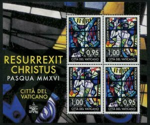 HERRICKSTAMP NEW ISSUES VATICAN CITY Sc.# 1612C Easter 2016 Stained Glass S/S