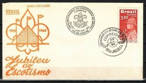 Brazil, Scott cat. C101. 50th Anniversary of Scouting issue. First day cover. *