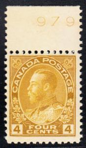 CANADA # 110  Mint NH - S.G. No. 249a with tab on top