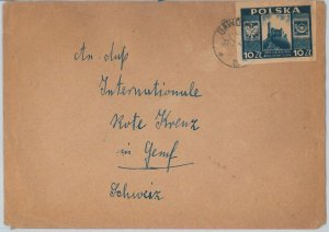 55878 -  POLAND - POSTAL HISTORY: IMPERF STAMP on  COVER to  SWITZERLAND - 1946