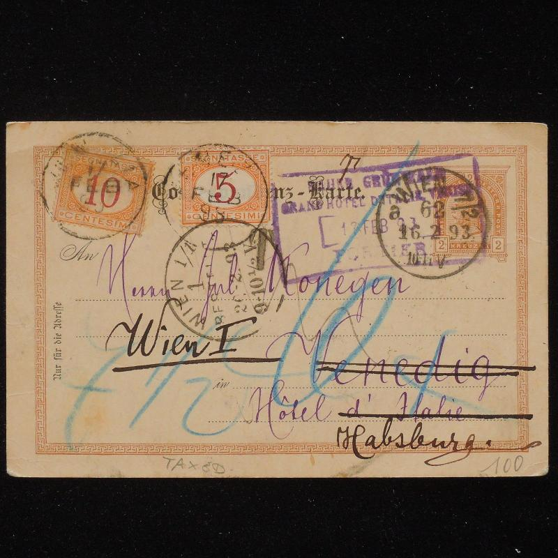 ZS-AA559 AUSTRIA - Postcard, 1893 From Wien To Hasburg, Taxed