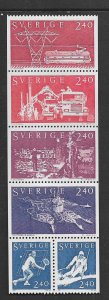 SWEDEN, 1378-1383, HINGED, BKLT PANE OF 6,  1981 ISSUE