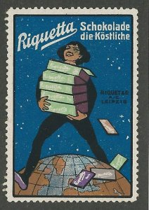 Riquetta, Chocolate, Germany, Early  Poster Stamp, Cinderella Label