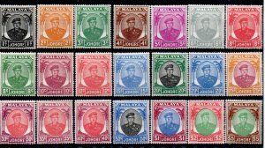 MALAYA JOHORE SG133/47 1949-55 DEFINITIVE SET MTD MINT