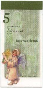 Canada USC #224b Mint Pane of Five 95c Christmas Angel in Complete Open Booklet