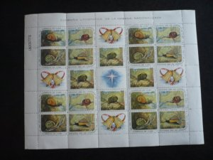 Stamps - Cuba - Scott# 686-690 Mint Hinged Sheet of 20 Stamps plus 5 Labels