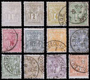 Luxembourg Scott 48-59a (1882) Used/Mint H F-VF Complete Set, CV $287.80 B