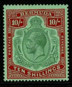 BERMUDA SG92 1924 10/= GREEN & RED/PALE EMERALD MTD MINT