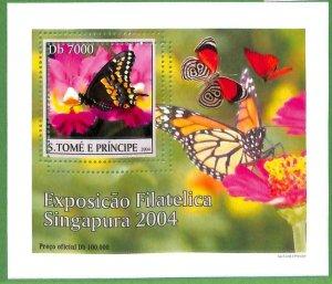 A0550 - S. TOME' & PRINCIPE -  ERROR  MISSPERF SHEET -  Butterflies  2004