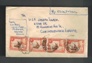 1949 Nairobi Kenya KUT cover to Czechoslovakia