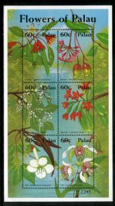 PALAU 674 MNH S/S SCV $7.25 BIN $4.50 FLOWERS