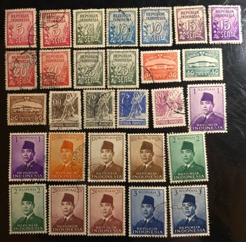 Indonesia Group of 41 Used stamps from 1951 to1953 issues  Cat. $11.40+