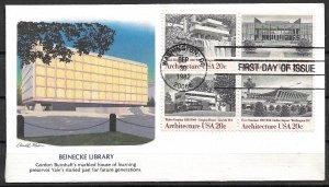 1982 Sc2019-22 Architecture block of 4 FDC