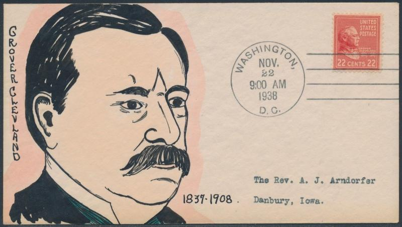 #827 GROVER CLEVELAND ON MAE WEIGAND FDC CACHET HANDPAINTED BS2079