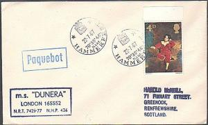 GB NORWAY 1967 MS Dunera ship cover, HAMMERFEST boxed PAQUEBOT......... ....1058