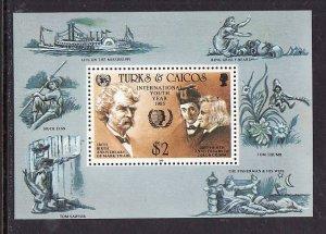 Turks & Caicos Is.-Sc#675-unused NH sheet-Int'l Youth Year-Mark Twain-Grimm Bro