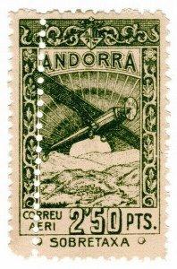 (I.B) Andorra Postal : Air Mail 2.50P (perf error)