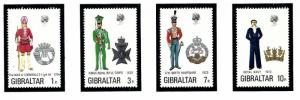 Gibraltar 286-89 MNH 1972 Military Uniforms